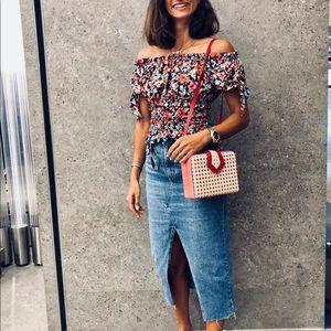 Zara floral off shoulder print top s